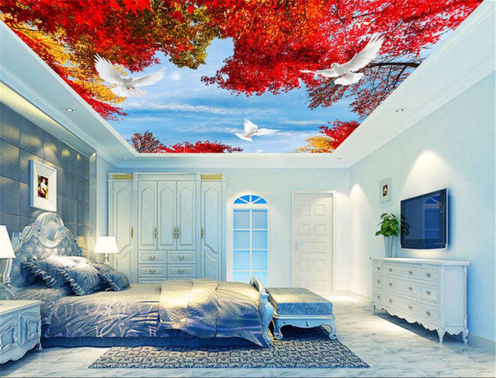Agminate ROT Maple 3D Ceiling Mural Full Wall Photo Wallpaper Print Home Decor