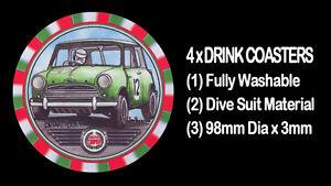 4-x-MORRIS-MINI-COOPER-BMC-MOTOR-CAR-DRINK-COASTERS-Fully-Washable