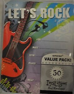 Image Is Loading ROCK STAR PARTY INVITATIONS 50 CT AND