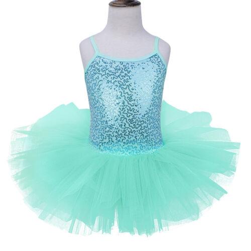 UK Girl Kids Shiny Metallic Leotard Dress Gymnastics Ballet Tutu Skirt Dancewear