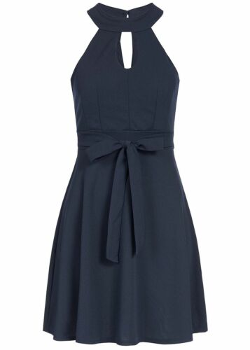 50/% OFF B18037254 Damen Violet Kleid kurz Chocker Kleid Brustpads Zipper blau