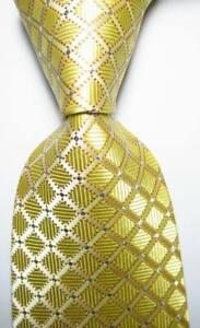 New-Classic-Checks-Beige-Silver-JACQUARD-WOVEN-100-Silk-Men-039-s-Tie-Necktie