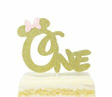 Minnie Cake Topper 1 Year Old with Pink Bow Tie for Minnie Themed Baby Girls Kids first Birthday Party Cake Supplies Decoration Glitter Minnie Inspired Happy Birthday 1st Cake Topper Double-sided