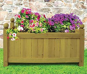 Image Is Loading Garden Rectangular Wooden Planter Outdoor Plant Pot Flower