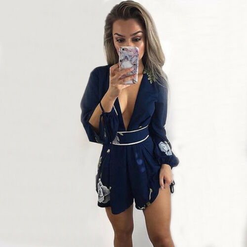 Kimono Tuta Playsuit Uk Plunge Floral Womens Culotte Pagliaccetto Backless blu 2019 xOYwqZ6Hw