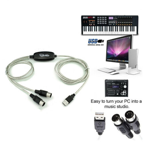 USB IN-OUT MIDI Interface Cable Converter PC to Music Keyboard Adapter Cord UK X