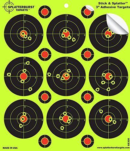 "Stick /& Splatter 3/"" Adhesive Shooting Targets for Indoor Outdoor Practice 25Pack"