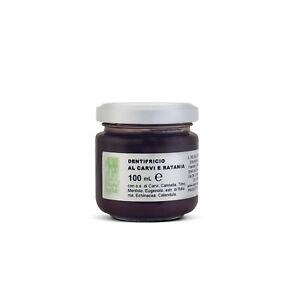 Dentifricio-Gel-NATURALE-Carvi-Ratania-Oli-Essenziali-ANTISETTICO-ASTRINGENTE