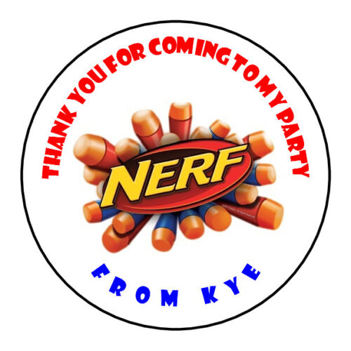 Nerf Personalised Stickers Sweet Cones Birthday Thank You Party Cake Box