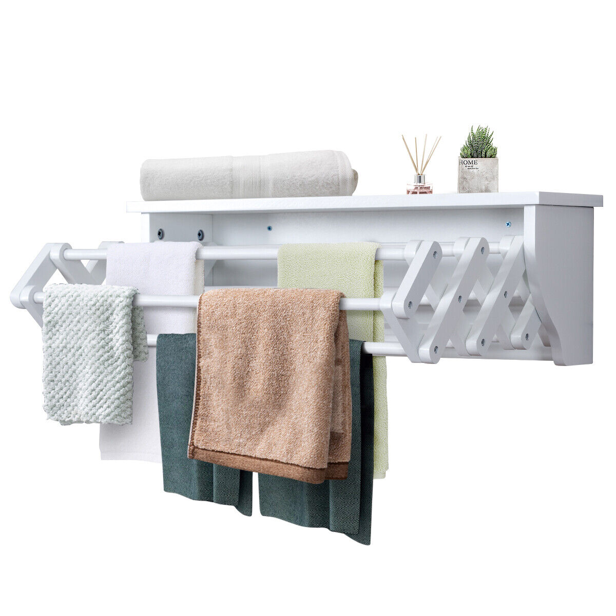 Wall Mounted Drying Rack Folding Clothes Towel Laundry Room Storage Shelf White