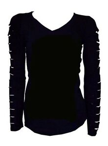 Cute Cut Out Ripped Arms Long Sleeve Shirt Stretch Black S M L 1X ...