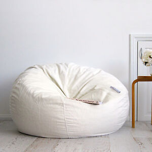 Image Is Loading Fur Beanbag Cover Soft Ivory Cream Velvet Cloud