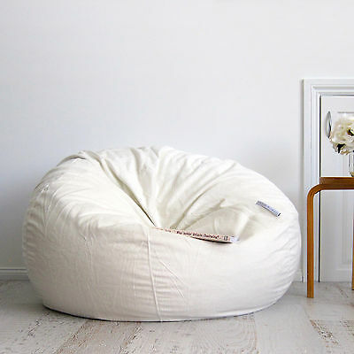 FUR BEANBAG Cover Soft Ivory Cream Velvet Cloud Chair Bean Bag Reading Relaxing