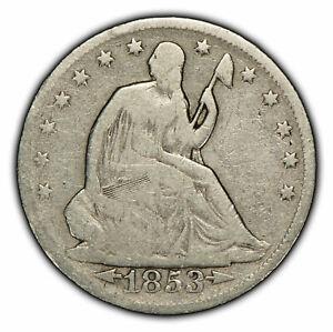 1853 50c Seated Liberty Half Dollar - Arrows & Rays - VG Coin - SKU-H1082