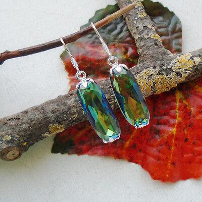 Regenbogen Mystic Topas, blau grün Glamour Ohrringe, Ohrhänger, Silber plattiert