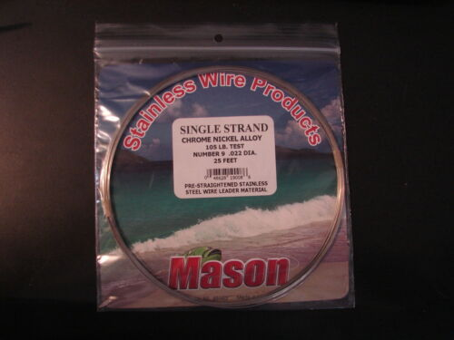 Mason Single Strand Chrome Nickel Alloy 105 lb 25 feet Stainless Steel Leader #9