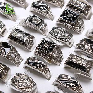 Wholesale-Jewelry-Mixed-Lots-5pcs-Rhinestone-Enamel-Alloy-Cool-Men-039-s-Rings-FREE