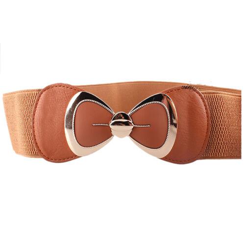 Women Stretch Buckle Waist Belt Tie Bow Wide Thin Dress Elastic Corset Waistband
