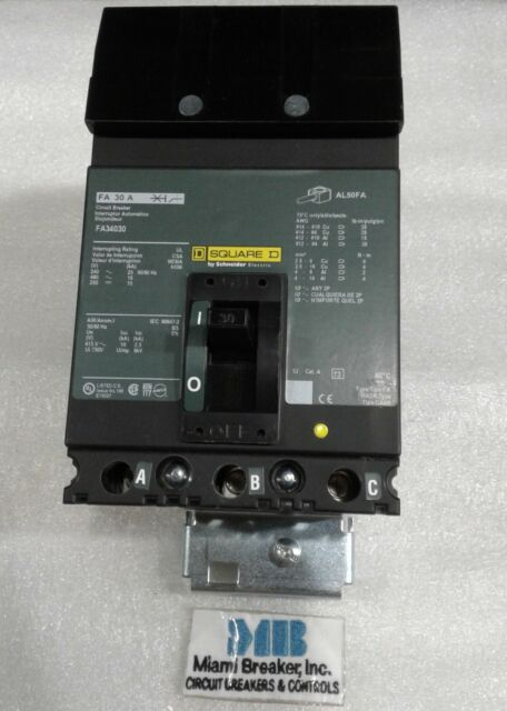 SQUARE D FA34030 CIRCUIT BREAKER 30 A 480V 3 phase