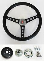 1969-1993 Cutlass F85 98 442 Black Grip On Black Steering Wheel 14 1/2
