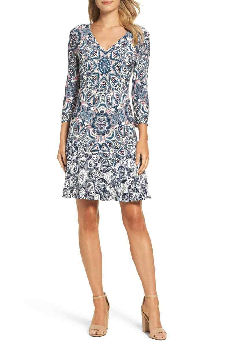 Eliza J Paisley Stretch Jersey 3 4 4 4 Sleeve Shift Dress bluee SIZE 6 from Nordstrom 7d99ca