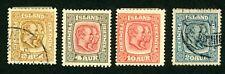ICELAND 1915-18 USED/UNUSED SC#100-101 104 107 KING CHRISTIAN IX FREDERICK STAMP