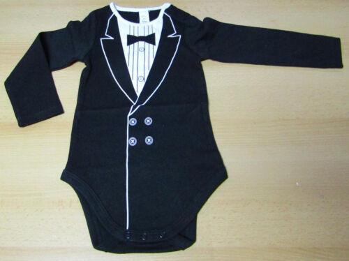 Baby Body langarmarm Smoking-Look Biobaumwolle schwarz NEU