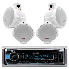 "Kenwood USB CD Bluetooth Marine Radio, 4 White MCM Wakeboard 6.5""Marine Speakers"