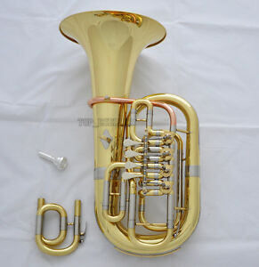 Professional-C-Bb-Keys-4-Rotary-Valve-Euphonium-Gold-Horn-11-6-039-039-Bell-With-Case