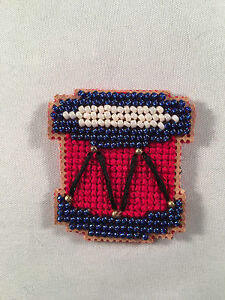 Finished Beaded Crossstitch Magnet Pin or Ornament Drum Holiday