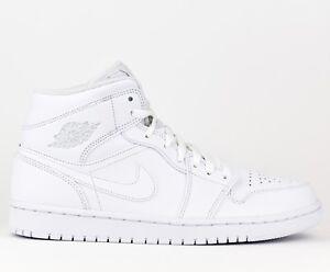 e8b88fbbfed Air Jordan 1 Mid AJ1 Men Lifestyle Sneakers Shoes New White 554724 ...