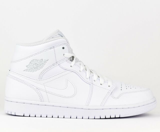 00a847ce3de Air Jordan 1 Mid AJ1 Men Lifestyle Sneakers Shoes New White 554724-104