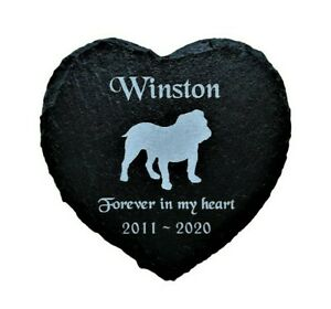 Personalised-Engraved-Slate-Heart-Dog-Pet-Memorial-Grave-Marker-Plaque-Bulldog