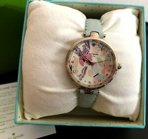 Kate-Spade-Womens-Holland-Butterfly-Mint-GREEN-Leather-Strap-Watch-KSW1414-NEW