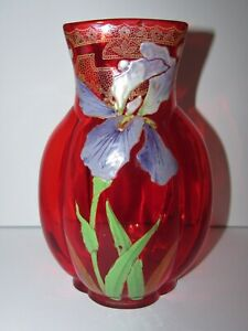 Antique Enameled Hand Painted French Mont Joye Legras Red Art Glass Vase 904