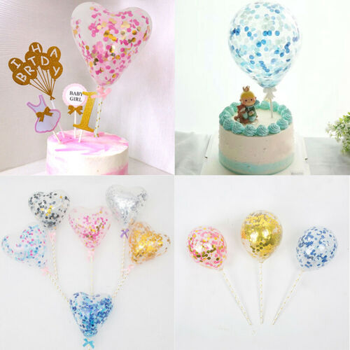10PCS Balloons Birthday Party Cake Decoration Paillette Wedding Cake Toppers