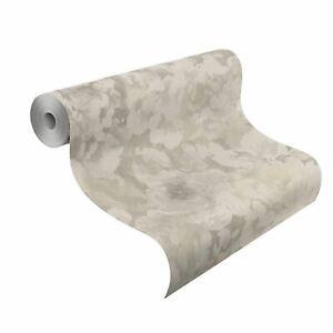 Florentine-Floral-Tissu-Papier-Peint-Rouleaux-Gris-Naturel-rasch-455601-Fleurs