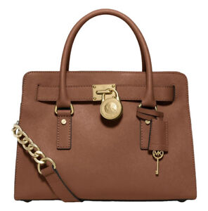 d8394630940a Image is loading Michael-Kors-Hamilton-Satchel-Bag-with-Gold-Chain