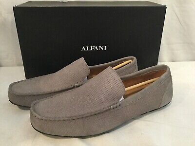 Alfani Men/'s Kendric Textured Drivers Denim Grey Suede Size 9.5 M