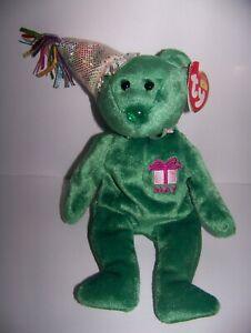 Ty Beanie Baby Happy Birthday Bear May MWMT