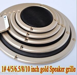 2//3//4//5//6.5//8//10 inch Speaker Cover Decorative Circle Metal Mesh Grille Gold