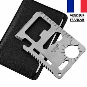 Couteau-Kit-Carte-de-Survie-Porte-Cle-Camping-Chasse-Peche-Bivouac-11-en-1