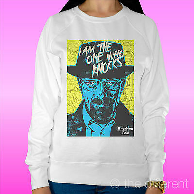 "Felpa Donna Leggera Sweater Bianco "" Breaking Bad Walter White Heisenberg "" Non-Stireria"