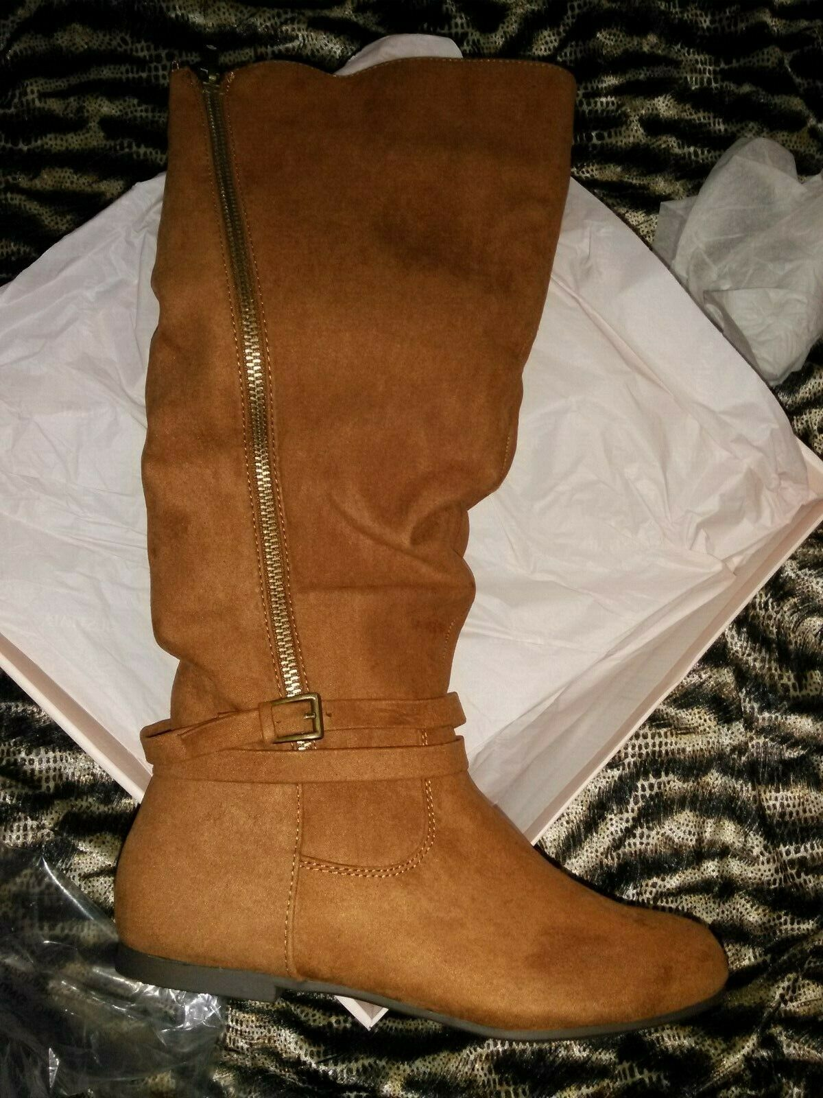 JUST FAB Boots BROWN Flats Women's 6.5
