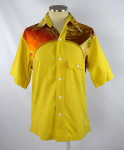 Vintage 70s Hawaiian Yellow Floral Button Down Short Sleeve Casual ...