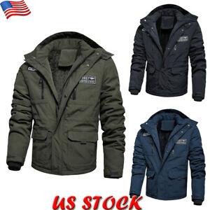 Winter-Men-039-s-Zipper-Fur-Lined-Thick-Padded-Coat-Casual-Warm-Parka-Jacket-Outwear
