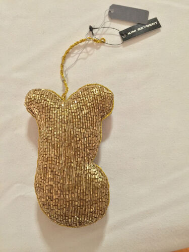 "*CLEARANCE* Kim Seybert Beaded /""Y/"" Letter//Initial Ornament Black//Gold"