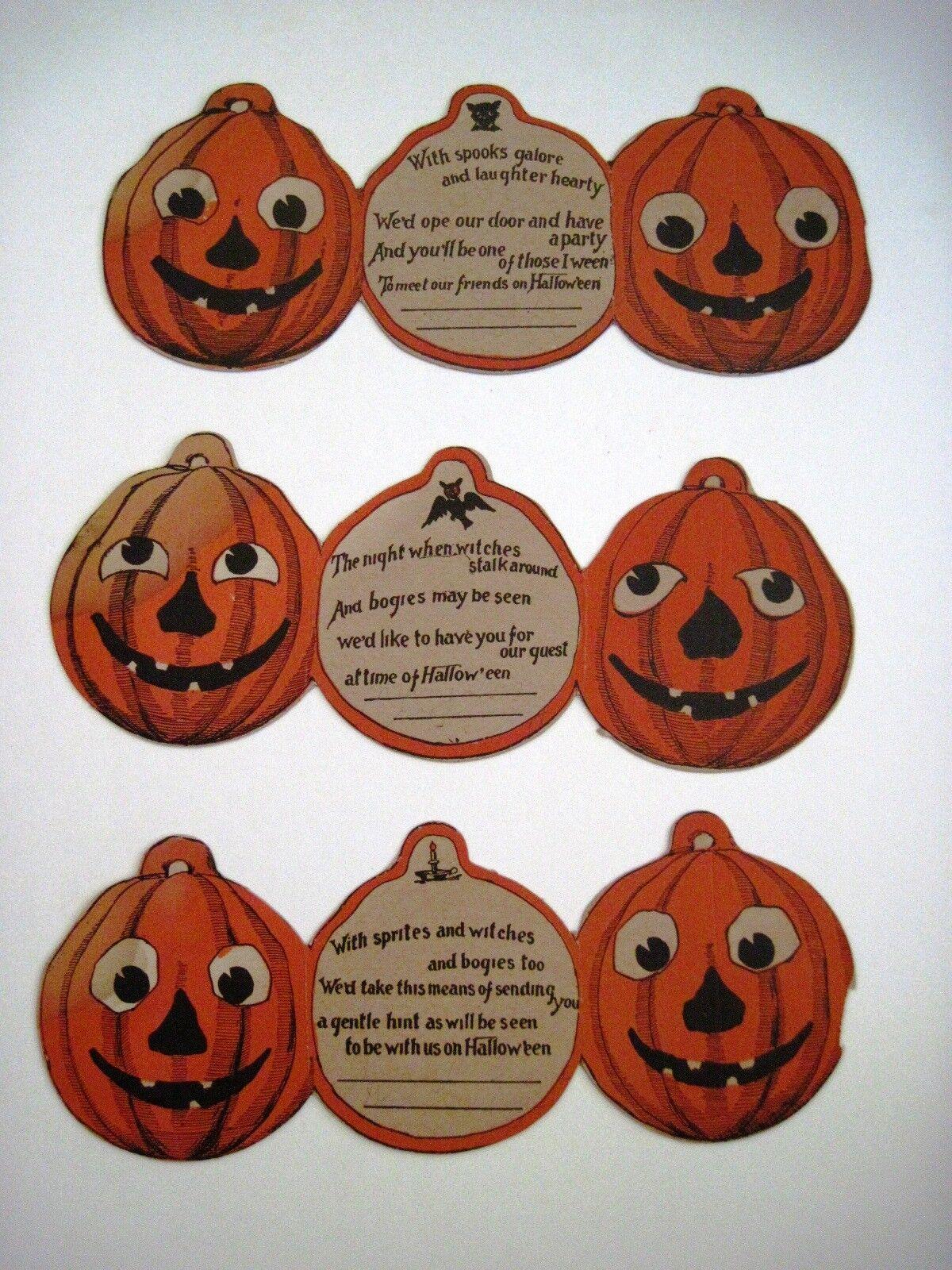Set de 3 Vintage Fête d'Halloween invitations avec Great visages sur chéris