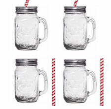 e098e8572f5 item 4 4 X CLEAR GLASS MASON JAM JARS DRINKING SUMMER COCKTAIL JAR HANDLE    STRAW 450ML -4 X CLEAR GLASS MASON JAM JARS DRINKING SUMMER COCKTAIL JAR  HANDLE ...