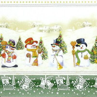 4x Paper Napkins for Decoupage Decopatch Craft Snowman Meeting